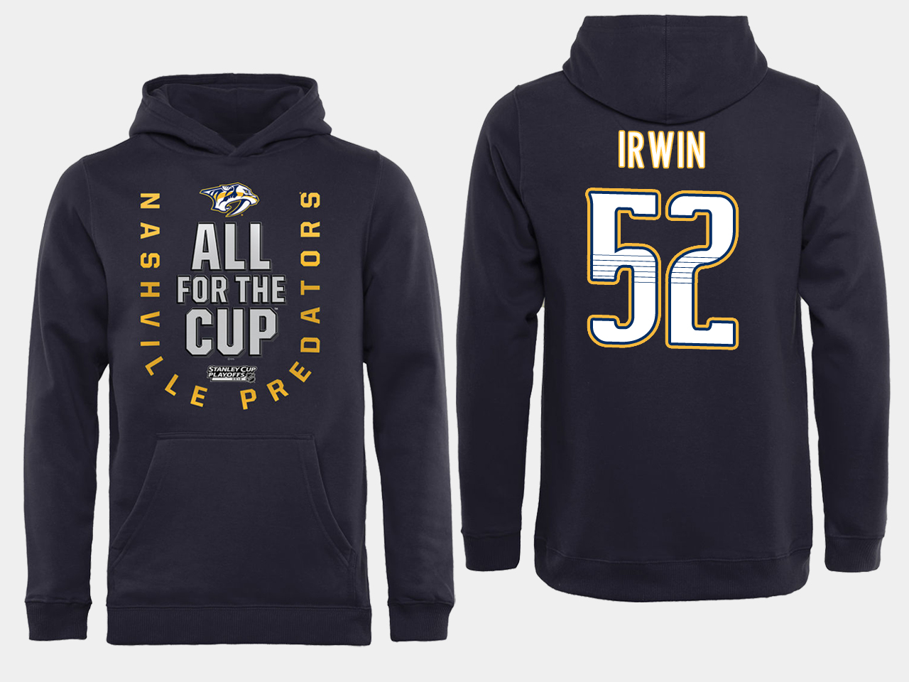 Men NHL Adidas Nashville Predators 52 Irwin black ALL for the Cup hoodie
