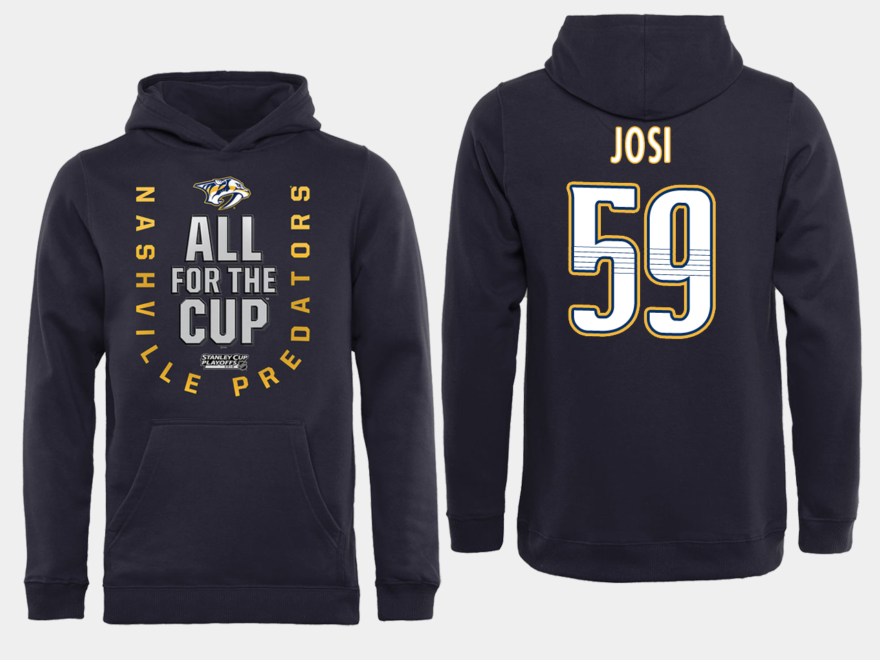 Men NHL Adidas Nashville Predators 59 Josi black ALL for the Cup hoodie