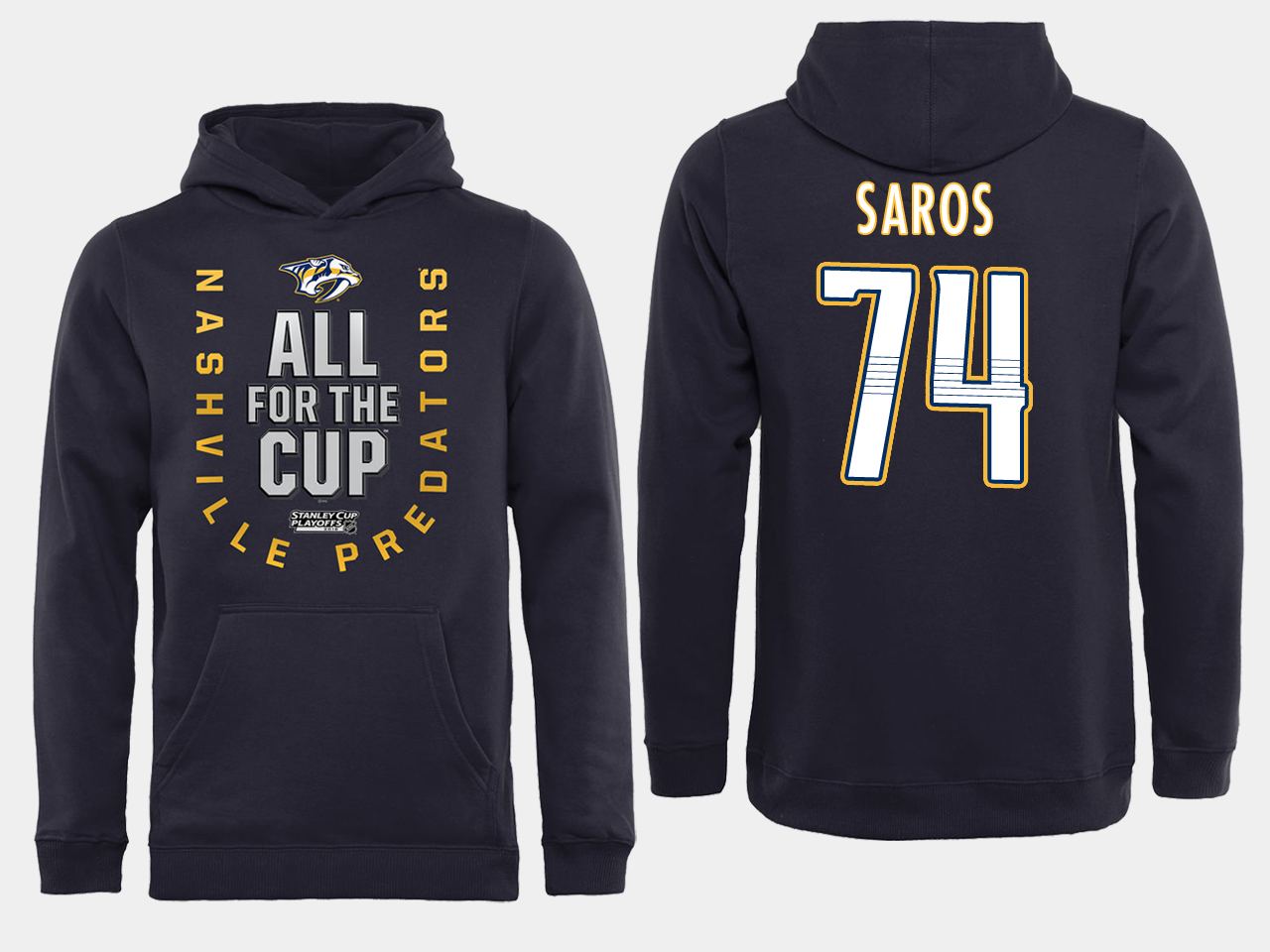 Men NHL Adidas Nashville Predators 74 Saros black ALL for the Cup hoodie