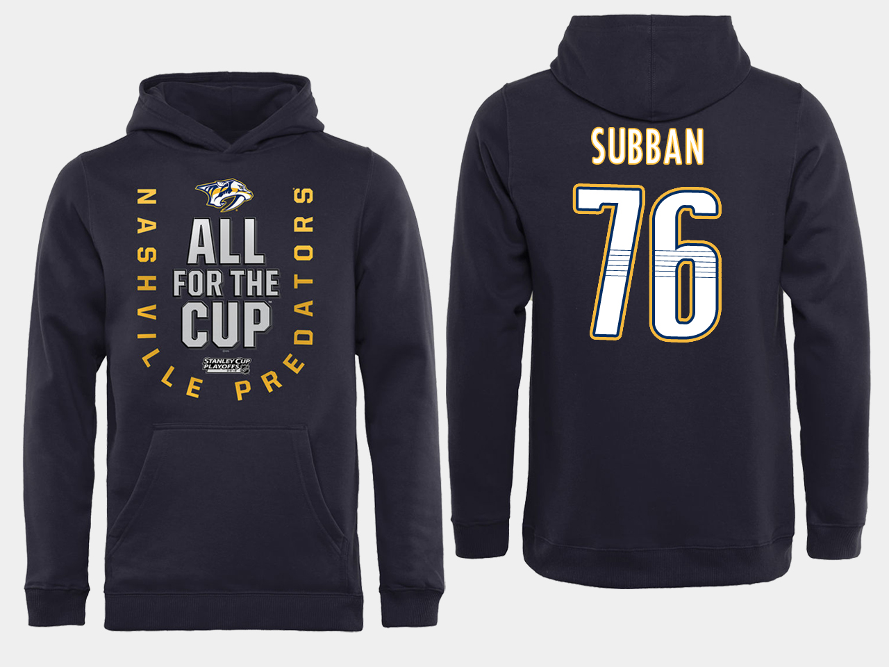 Men NHL Adidas Nashville Predators 76 Subban black ALL for the Cup hoodie