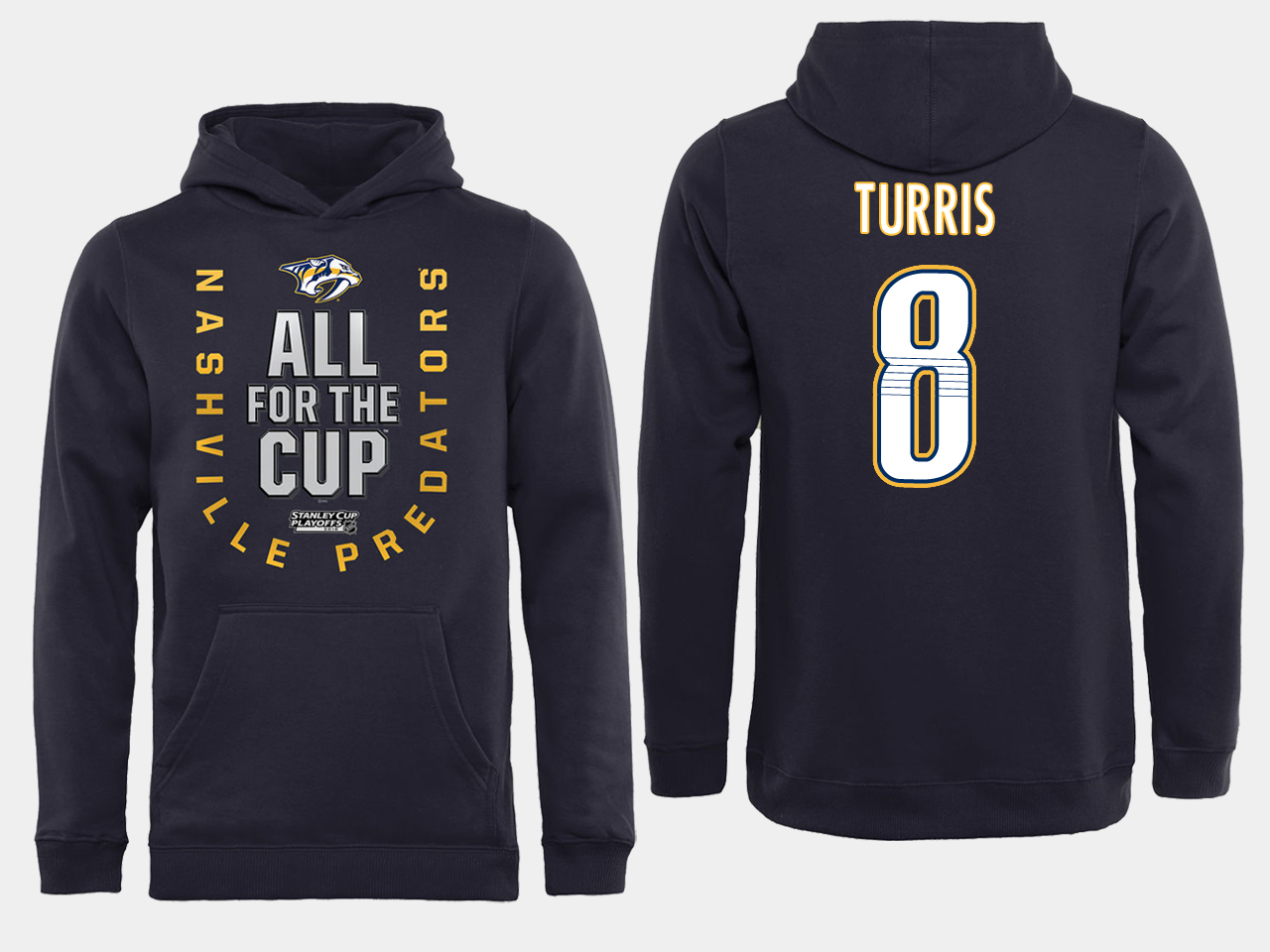 Men NHL Adidas Nashville Predators 8 Turris black ALL for the Cup hoodie