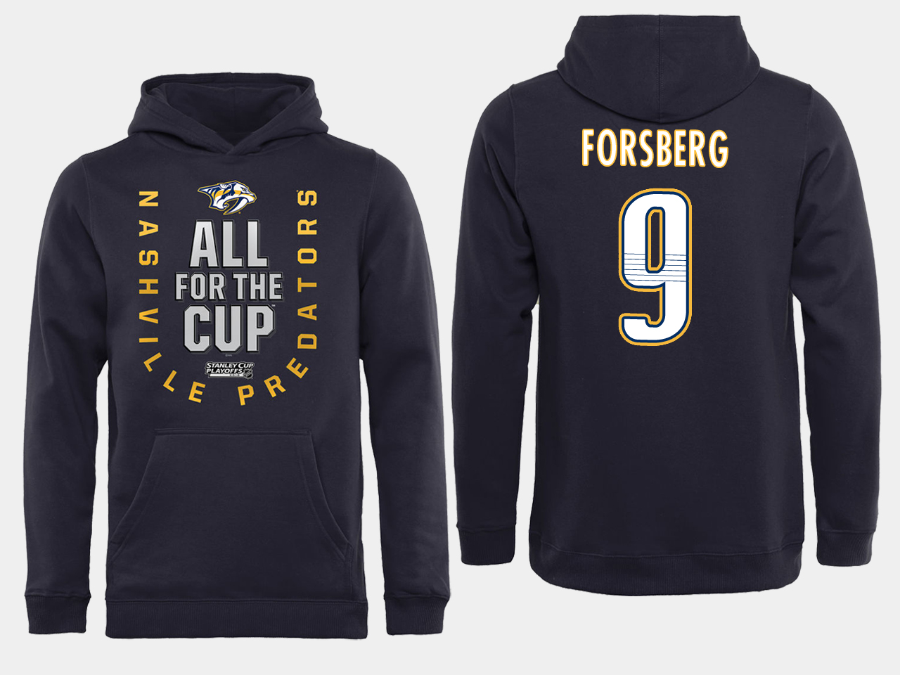 Men NHL Adidas Nashville Predators 9 Forsberg black ALL for the Cup hoodie
