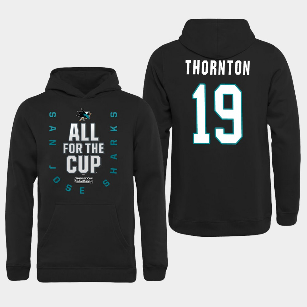 Men NHL Adidas San Jose Sharks 19 Thornton black hoodie