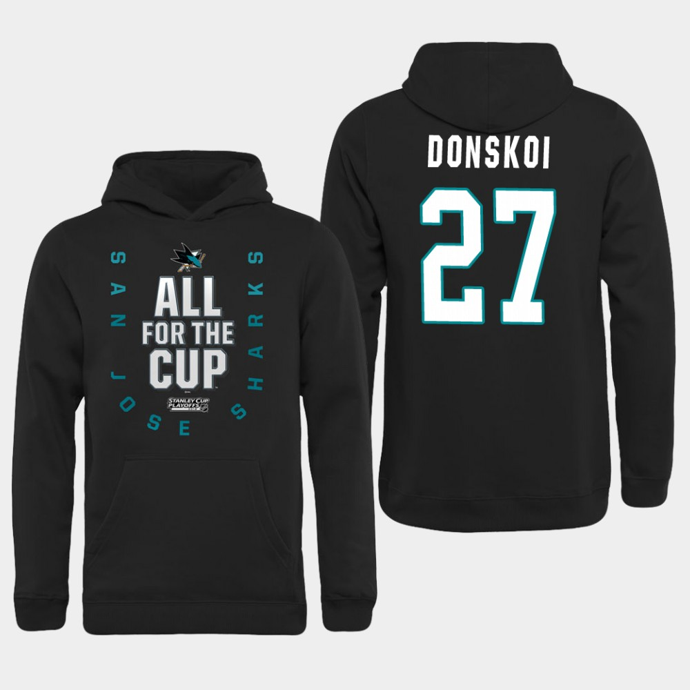 Men NHL Adidas San Jose Sharks 27 Donskoi black hoodie