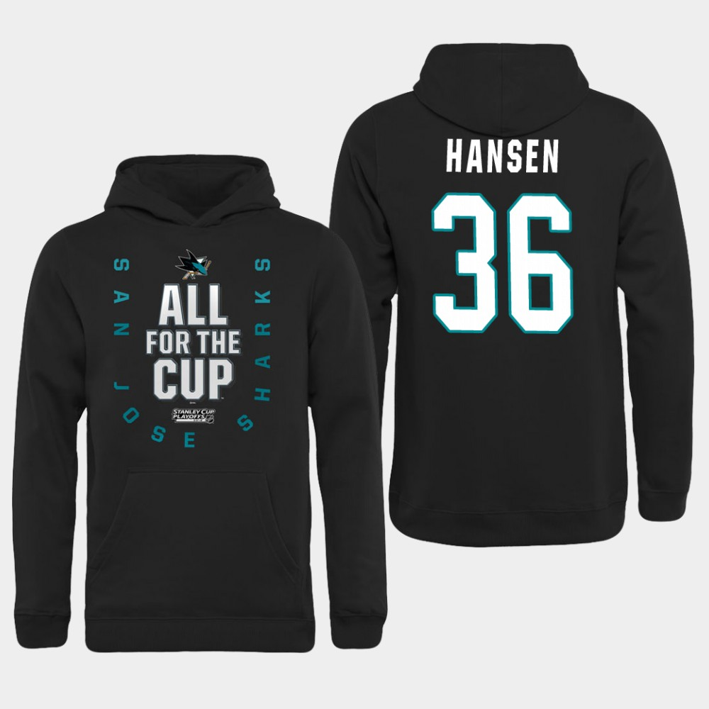 Men NHL Adidas San Jose Sharks 36 Hansen black hoodie