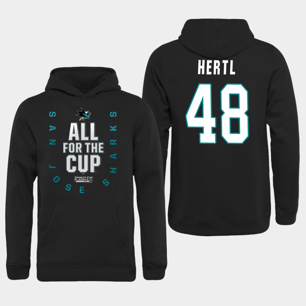 Men NHL Adidas San Jose Sharks 48 Hertl black hoodie