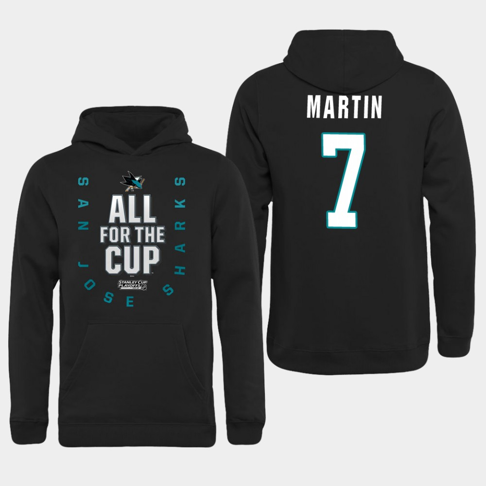 Men NHL Adidas San Jose Sharks 7 Martin black hoodie
