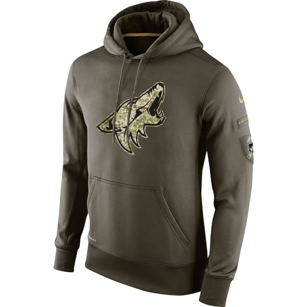 Men NHL Arizona Coyotes Nike Olive Salute To Service KO Performance Hoodie Green