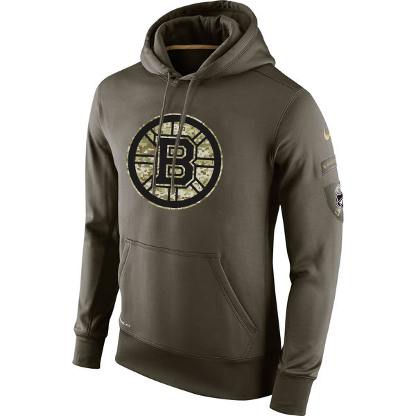 Men NHL Boston Bruins Nike Olive Salute To Service KO Performance Hoodie Green