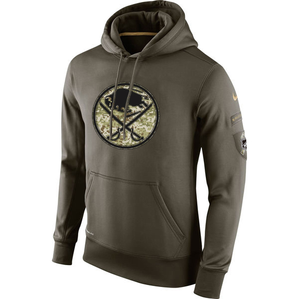 Men NHL Buffalo Sabres Nike Olive Salute To Service KO Performance Hoodie Green
