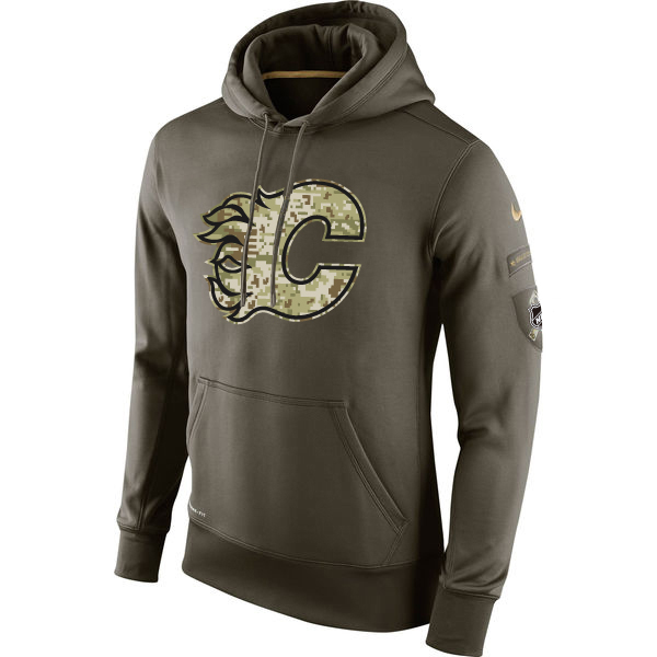 Men NHL Calgary Flames Nike Olive Salute To Service KO Performance Hoodie Green