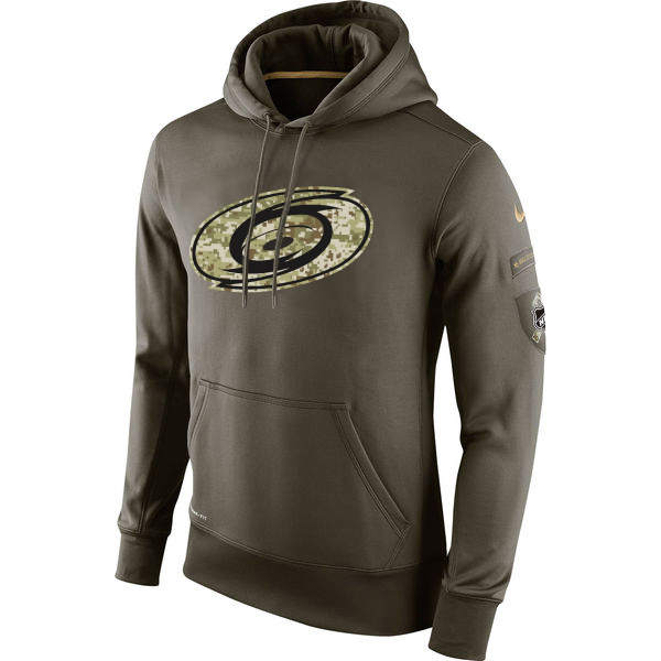 Men NHL Carolina Hurricanes Nike Olive Salute To Service KO Performance Hoodie Green