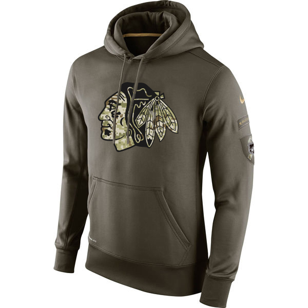 Men NHL Chicago Blackhawks Nike Olive Salute To Service KO Performance Hoodie Green