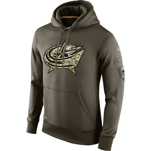 Men NHL Columbus Blue Jackets Nike Olive Salute To Service KO Performance Hoodie Green