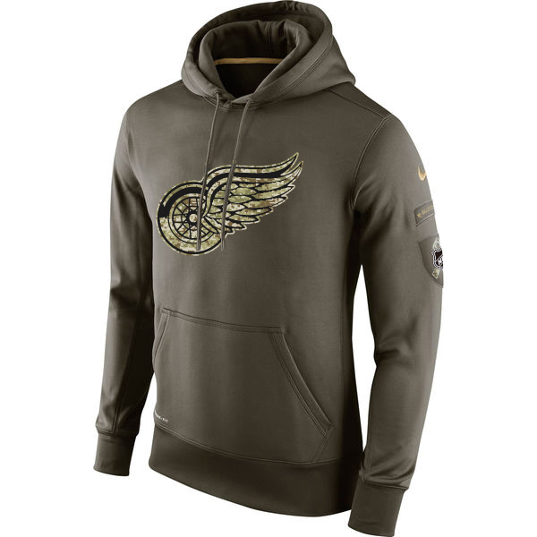 Men NHL Detroit Red Wings Nike Olive Salute To Service KO Performance Hoodie Green