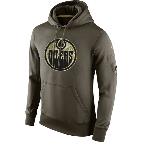 Men NHL Edmonton Oilers Nike Olive Salute To Service KO Performance Hoodie Green
