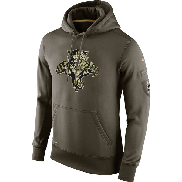 Men NHL Florida Panthers Nike Olive Salute To Service KO Performance Hoodie Green