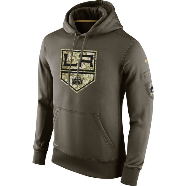 Men NHL Los Angeles Kings Nike Olive Salute To Service KO Performance Hoodie Green