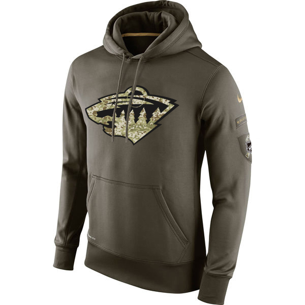 Men NHL Minnesota Wild Nike Olive Salute To Service KO Performance Hoodie Green