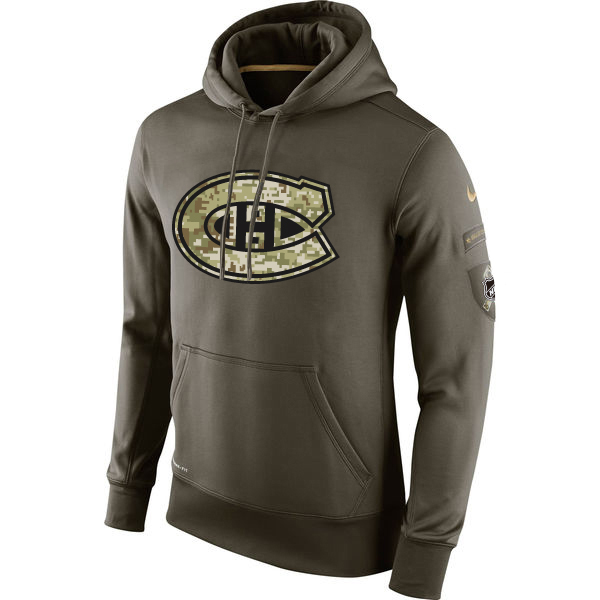 Men NHL Montreal Canadiens Nike Olive Salute To Service KO Performance Hoodie Green