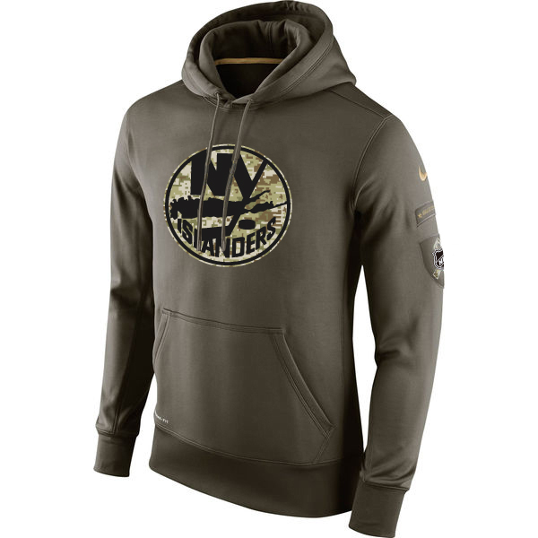 Men NHL NEW York Islanders Nike Olive Salute To Service KO Performance Hoodie Green
