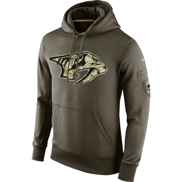 Men NHL Nashville Predators Nike Olive Salute To Service KO Performance Hoodie Green