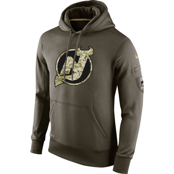 Men NHL New Jersey Devils Nike Olive Salute To Service KO Performance Hoodie Green