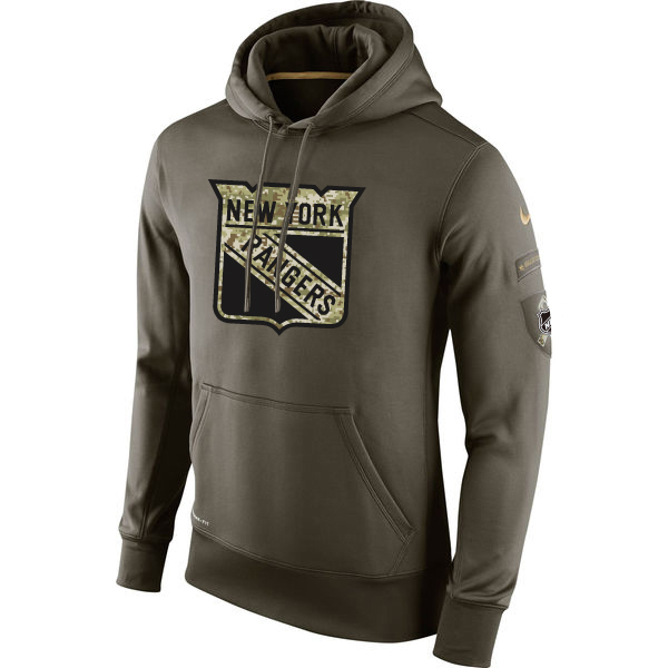 Men NHL New York Rangers Nike Olive Salute To Service KO Performance Hoodie Green