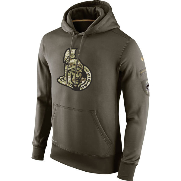 Men NHL Ottawa Senators Nike Olive Salute To Service KO Performance Hoodie Green