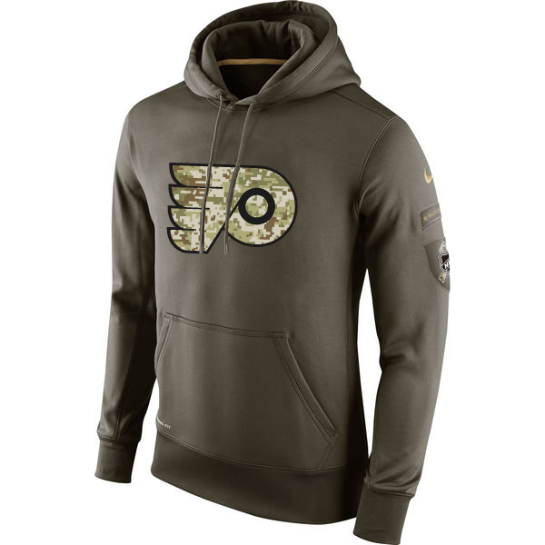 Men NHL Philadelphia Flyers Nike Olive Salute To Service KO Performance Hoodie Green