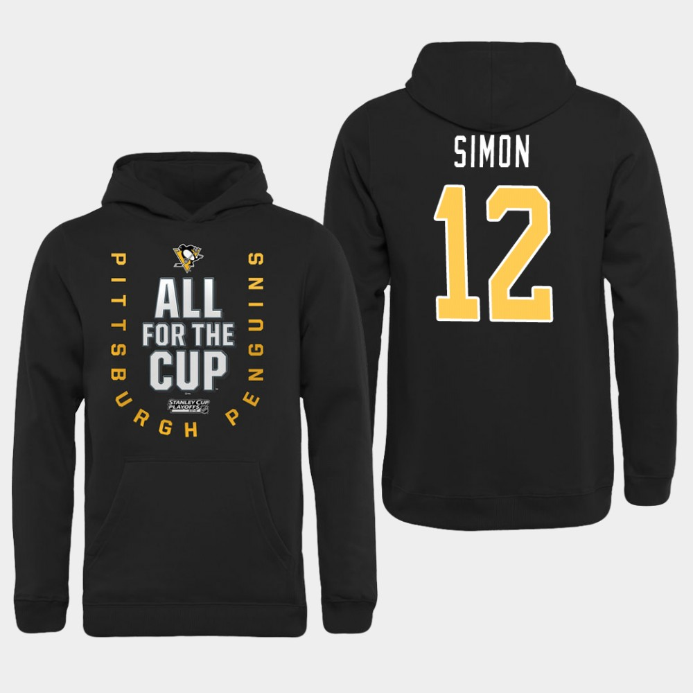 Men NHL Pittsburgh Penguins 12 Simon black All for the Cup Hoodie