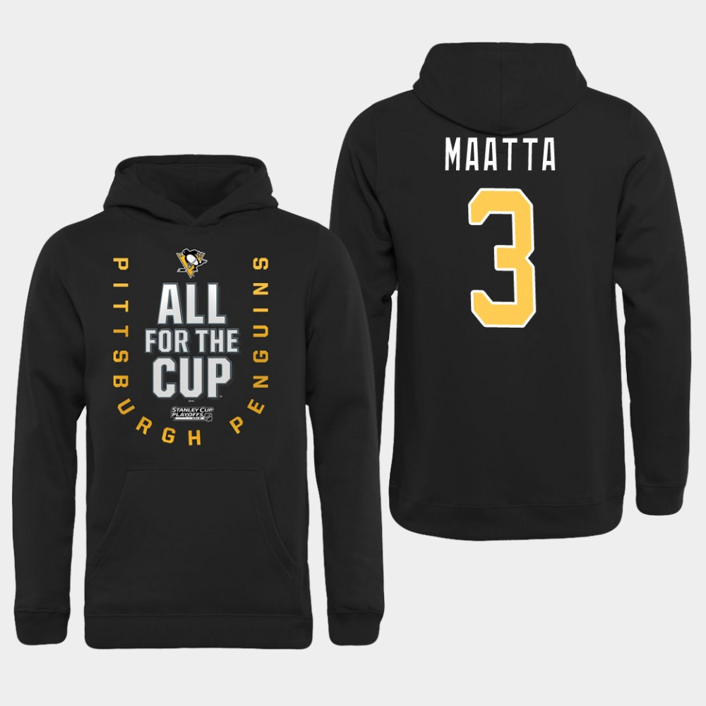 Men NHL Pittsburgh Penguins 3 Maatta black All for the Cup Hoodie
