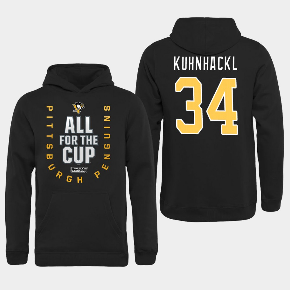 Men NHL Pittsburgh Penguins 34 Kuhnhackl black All for the Cup Hoodie