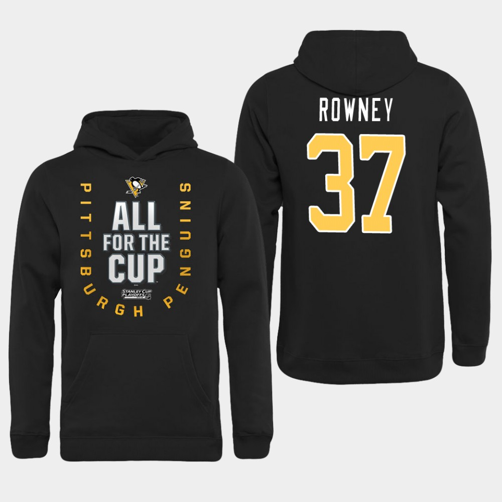 Men NHL Pittsburgh Penguins 37 Rowney black All for the Cup Hoodie