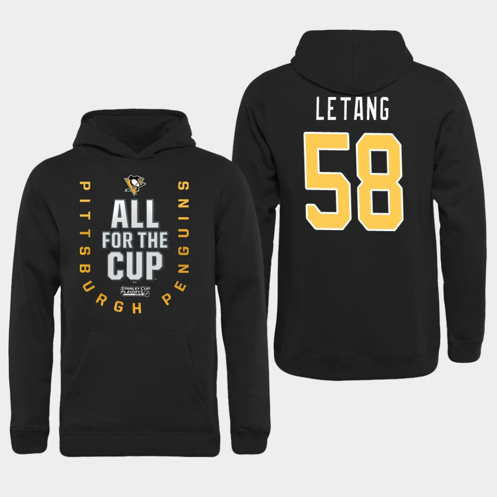 Men NHL Pittsburgh Penguins 58 Letang black All for the Cup Hoodie