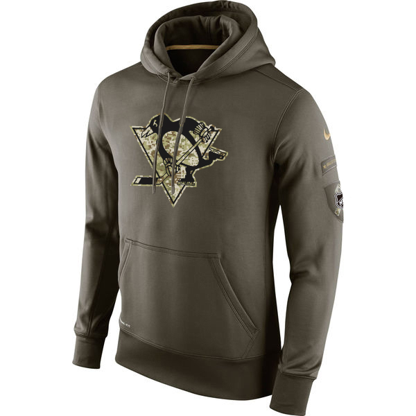 Men NHL Pittsburgh Penguins Nike Olive Salute To Service KO Performance Hoodie Green