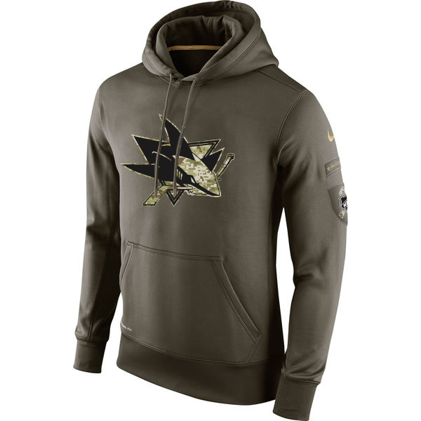 Men NHL San Jose Sharks Nike Olive Salute To Service KO Performance Hoodie Green