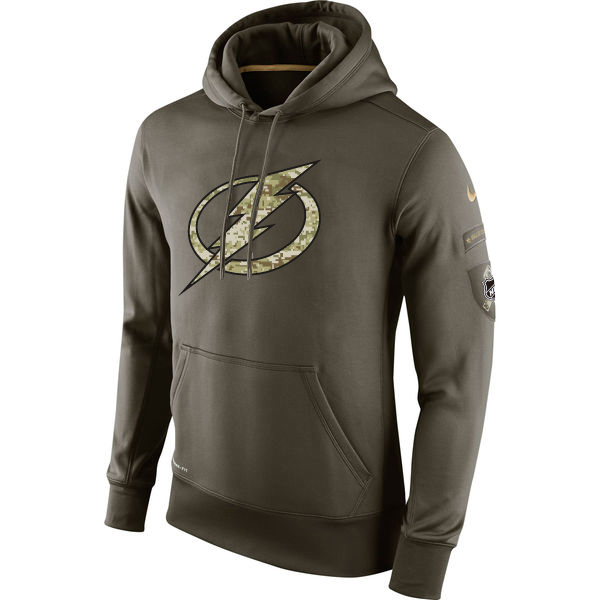 Men NHL Tampa Bay Lightning Nike Olive Salute To Service KO Performance Hoodie Green
