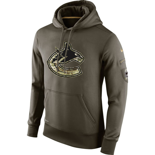 Men NHL Vancouver Canucks Nike Olive Salute To Service KO Performance Hoodie Green