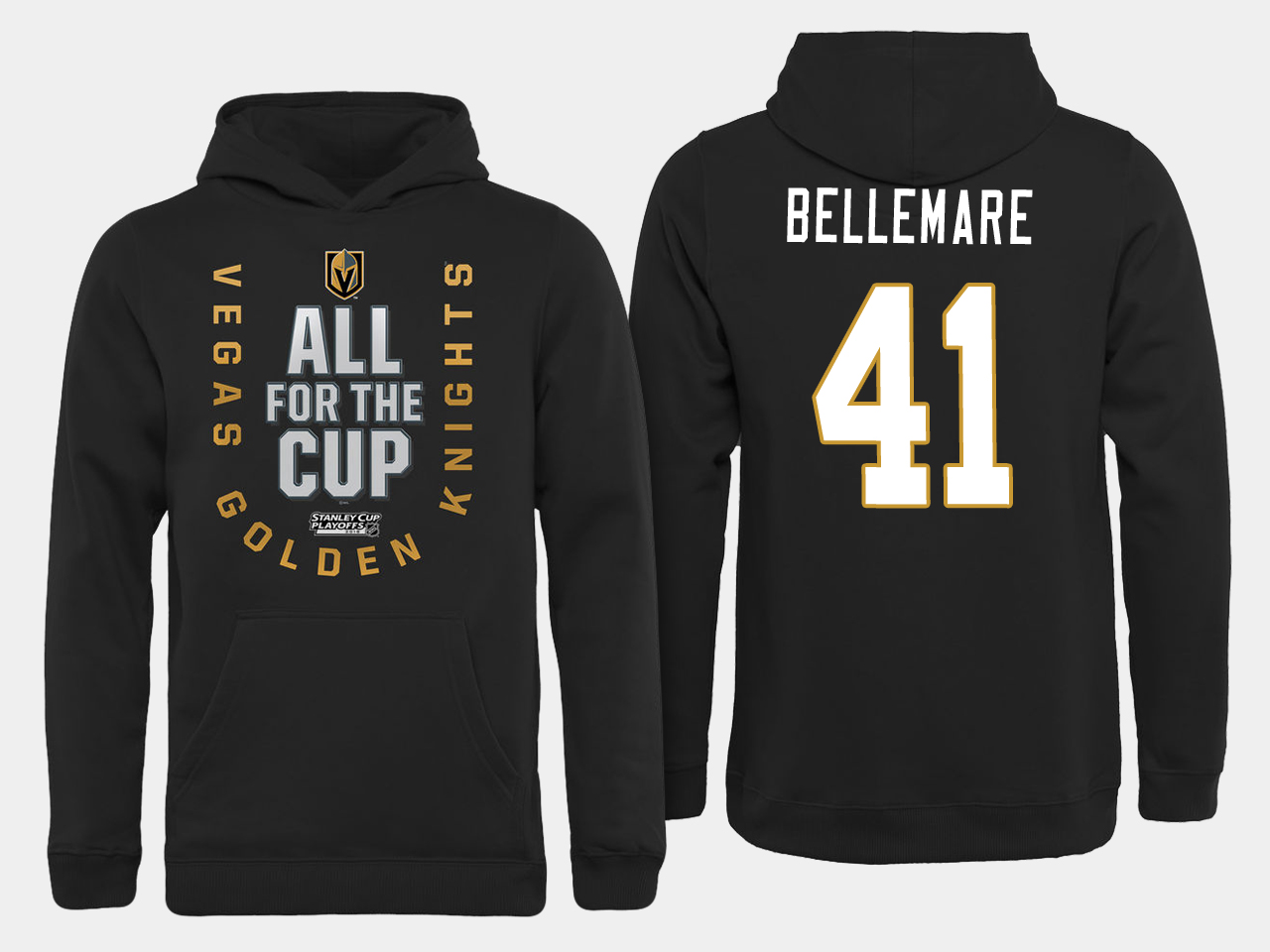 Men NHL Vegas Golden Knights 41 Bellemare All for the Cup hoodie