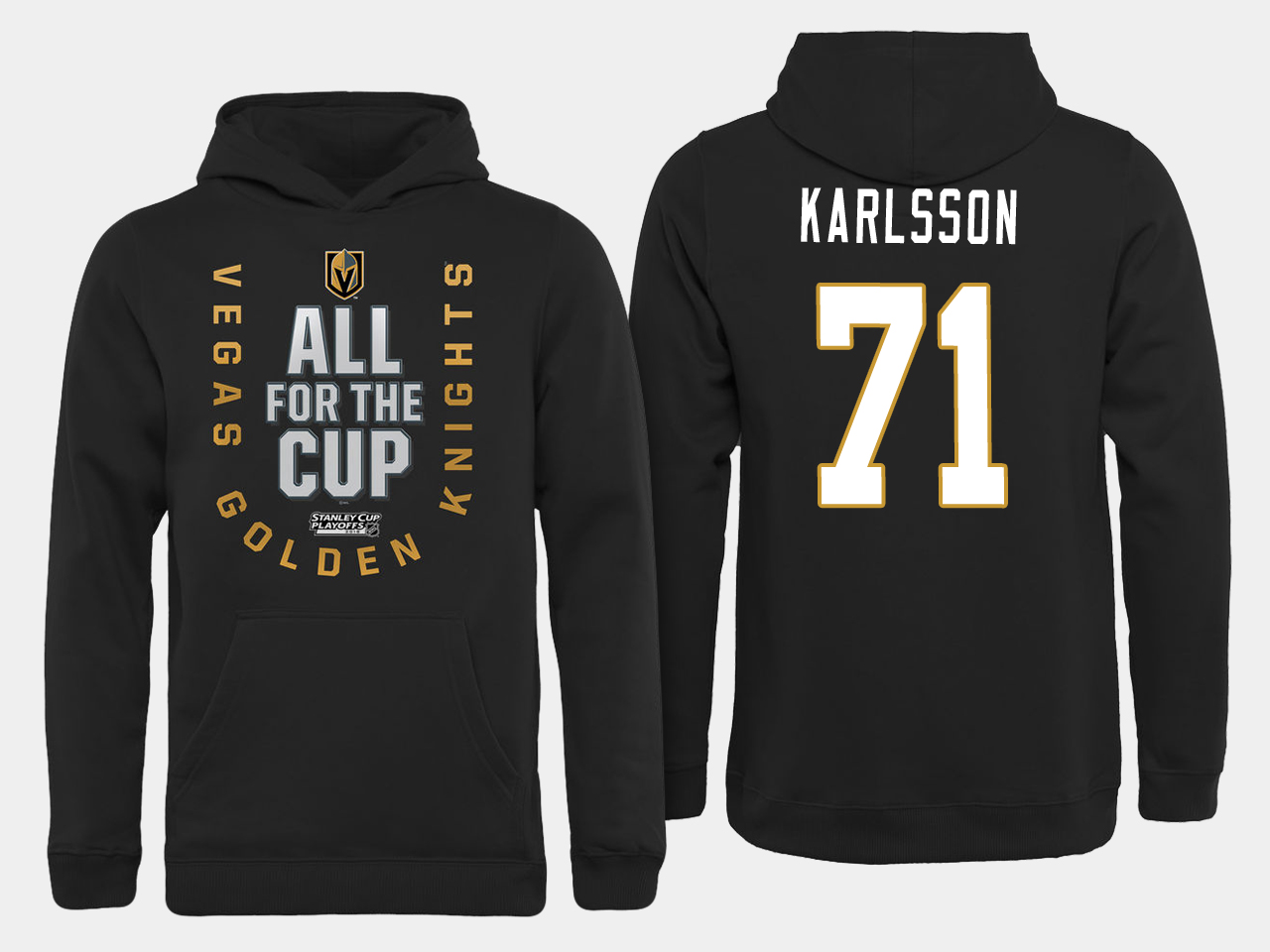 Men NHL Vegas Golden Knights 71 Karlsson All for the Cup hoodie
