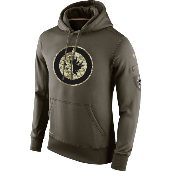 Men NHL Winnipeg Jets Nike Olive Salute To Service KO Performance Hoodie Green