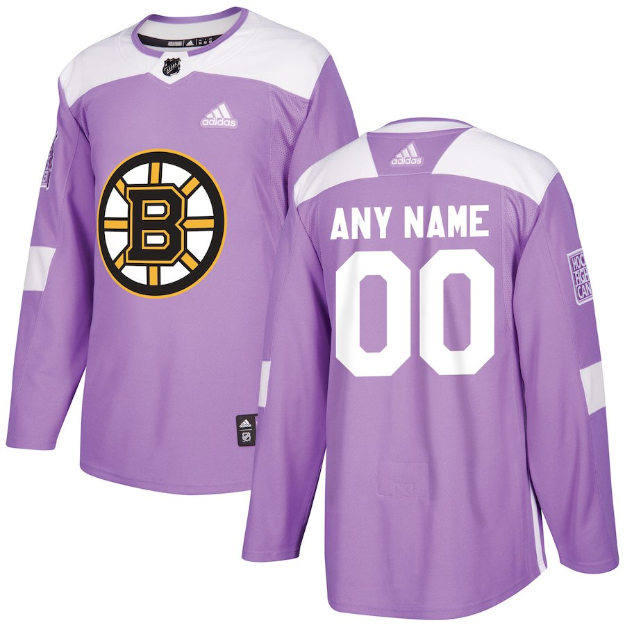 Men NHL adidas Boston Bruins Purple Hockey Fights Cancer Custom Practice Jersey