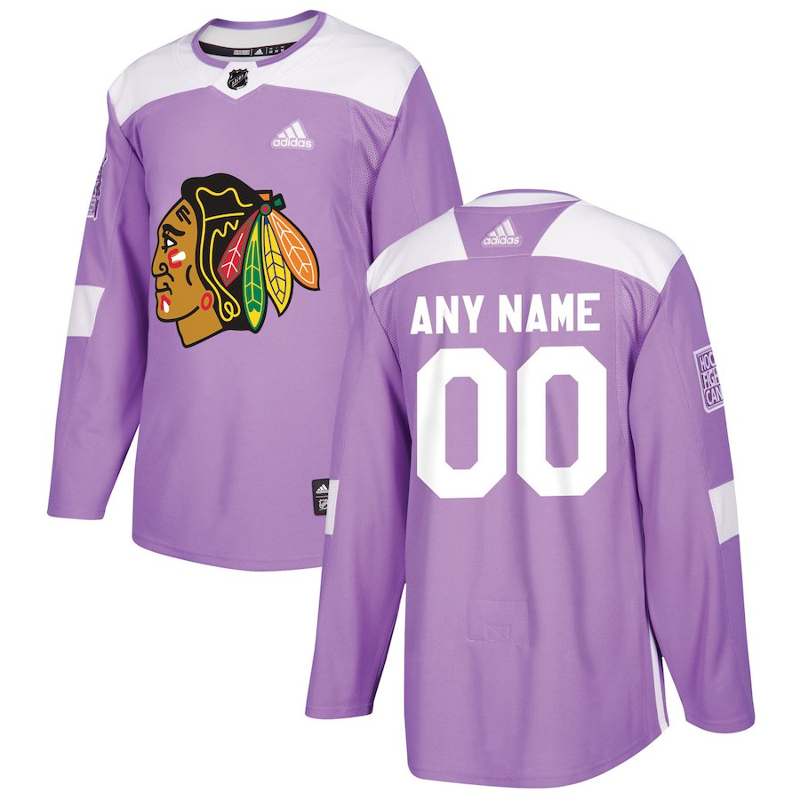 Men NHL adidas Chicago Blackhawks Purple 2018 Hockey Fights Cancer Custom Practice Jersey