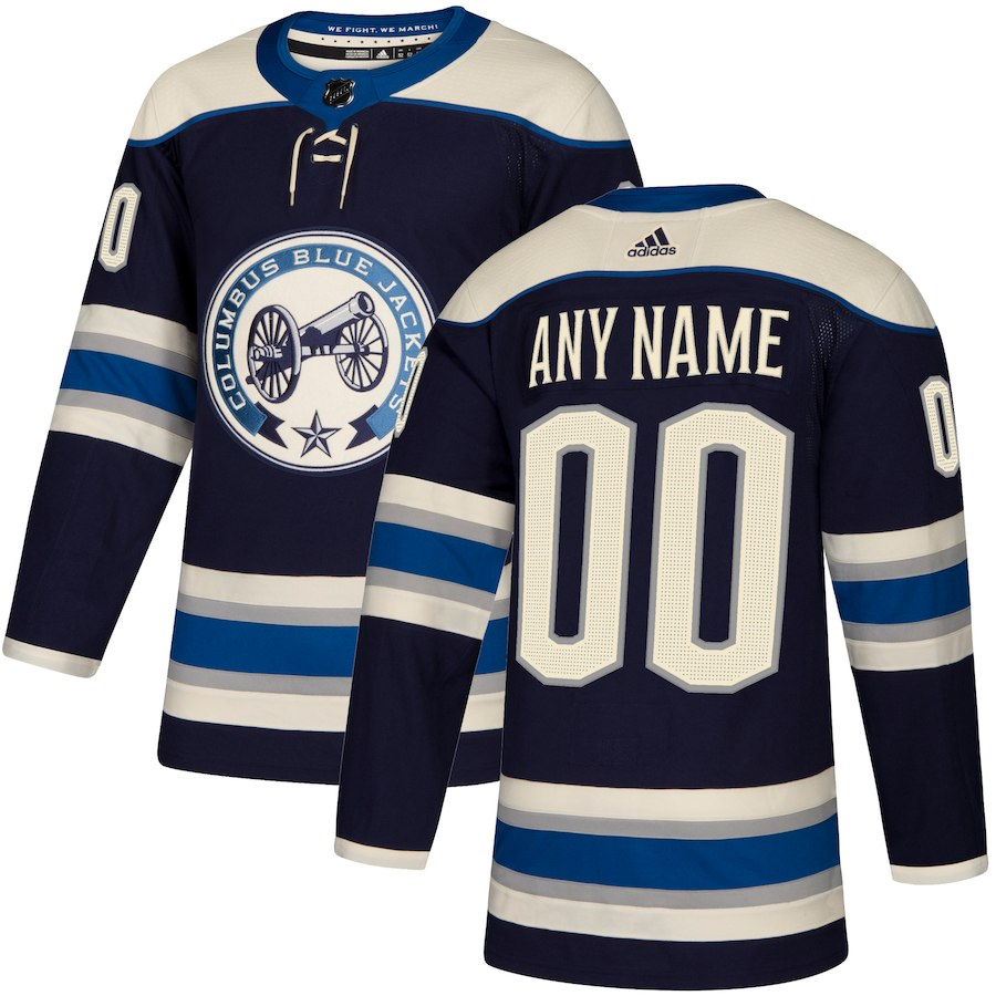 Men NHL adidas Columbus Blue Jackets Navy Authentic Alternate Custom Jersey