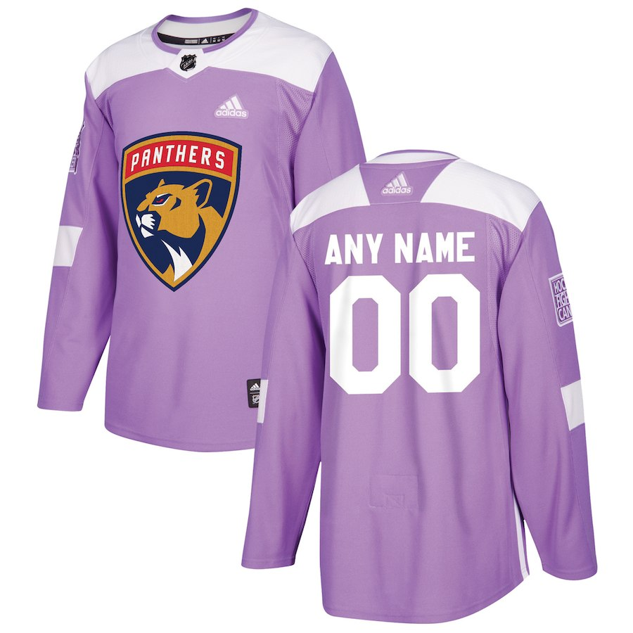 Men NHL adidas Florida Panthers Black 2018 Hockey Fights Cancer Custom Practice Jersey
