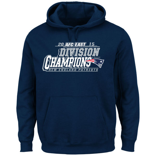 Men New England Patriots Majestic 2015 AFC East Division Champions Pullover Hoodie Navy