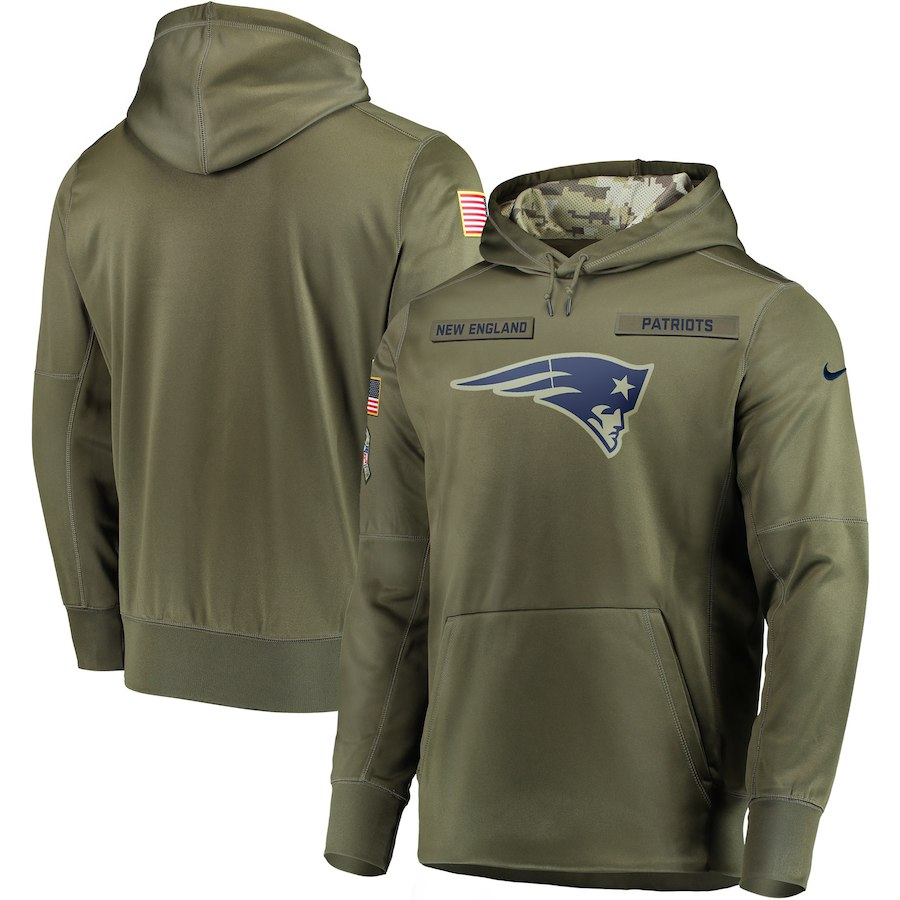 Men New England Patriots Nike Olive Salute To Service KO Performance Hoodie Green