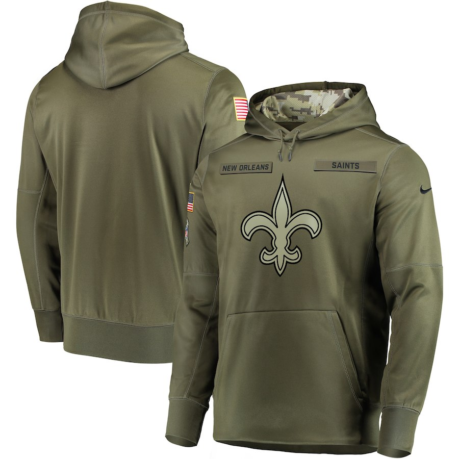 Men New Orleans Saints Nike Olive Salute To Service KO Performance Hoodie Green
