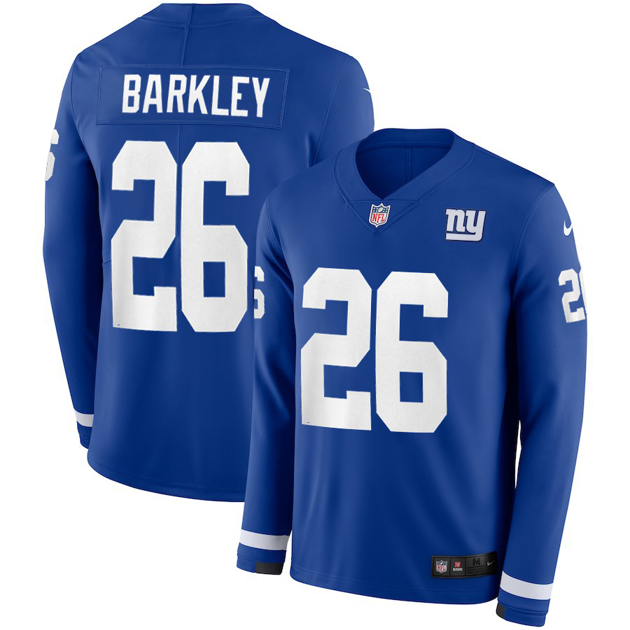 Men New York Giants 26 Barkley blue Limited NFL Nike Therma Long Sleeve Jersey